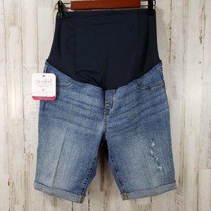 Isabel Maternity Womens Bermuda Shorts Blue Cuffed